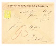 Heimat ZH SCHLIEREN 23.5. Zwergstempel 15Rp Sitzende Helvetia Brief Nach Zürich - 1862-1881 Sitzende Helvetia (gezähnt)