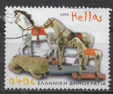 GREECE 2006 Children's Toys -  40c. - Wheeled Horses And Cat (1920's)   FU - Gebraucht