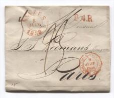LAC Daté De Anvers Le 8/6/1838 C.Anvers+Ambt Belgique Par Valenciennes Et Griffe B.4.R. Taxée 23 Pour Paris PR2766 - 1830-1849 (Belgique Indépendante)