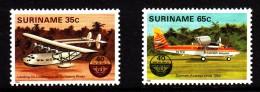Surinam MNH Scott #673-#674 Set Of 2 Sea Plane, Jet - 40th Anniversary International Civil Aviation Org. - Surinam