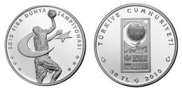 AC - 2010 FIBA WORLD BASKETBALL CHAMPIONSHIP COMMEMORATIVE SILVER COIN 2010 TURKEY, PROOF UNCIRCULATED - Türkei