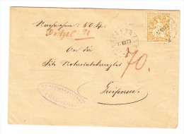 Heimat ZH UNTERSTRASS 12.7.1873 NN Brief Nach Greifensee Mit 20Rp Sitzende - 1862-1881 Helvetia Assise (dentelés)