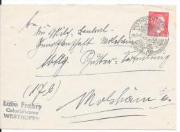 Westhofen / Westhoffen, Enveloppe 1944 --> Molsheim, Affr. 12pf Cachet De Propagande - Alsace-Lorraine