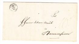 Heimat ZH ZÜRICH 20.7.1855 1-Kreis Stempel Auf Brief Ohne Marke - 1854-1862 Helvetia (Non-dentelés)