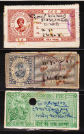 INDIAN PRINCELY STATE PHALTAN 2 DIFF. CF REVENUE FISCAL STAMPS #D1 - India