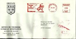 Lettre Entiere  EMA Havas P Maison Tourisme  Histoire Jeanne D'arc Cavalier Animaux Cheval 45 Orleans  B/326 - Poststempel (Briefe)