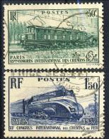 Francia 1937 Serie N. 339-340 Treni, Congresso Ferrovie Usati Catalogo € 11,10 - Oblitérés