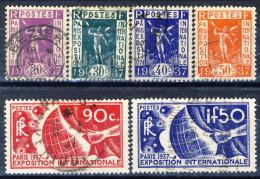 Francia 1936 Serie N. 322-327 Expo Parigi Usati Catalogo € 17 - Oblitérés