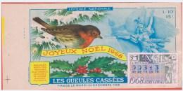 Loterie Nationale 1968 - Spéciale Tranche De Noêl 1/10 - Les Gueules Cassées Oiseau Rouge Gorge - Biglietti Della Lotteria