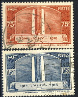 Francia 1936 Serie N. 316-317 Monumento Vimy Usati Catalogo € 12,30 - Oblitérés