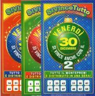 Biglietto Lotteria SUPER ENALOTTO  ...SERIE SPECIALI DICEMBRE 2011 3 BIGLIETTI DA 10 EURO DA COLLEZIONE - PERFETTO - Biglietti Di Trasporto