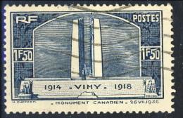 Francia 1936 N. 317 F. 1,50 Monumento Vimy Usato Catalogo € 10 - Oblitérés