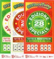 Biglietto Lotteria SUPER ENALOTTO  ...SERIE SPECIALI OTTOBRE 2011 3 BIGLIETTI DA 10 EURO DA COLLEZIONE - PERFETTO - Biglietti Di Trasporto