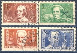 Francia 1936 Serie N. 330-333 Pro Disoccupati Intellettuali Usati Catalogo € 33 - Oblitérés