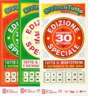 Biglietto Lotteria SUPER ENALOTTO  ...SERIE SPECIALI SETTEMBRE 2011 3 BIGLIETTI DA 10 EURO DA COLLEZIONE - PERFETTO - Biglietti Di Trasporto