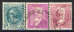 Francia 1933 Serie N. 291-293 Celebrità Usati Catalogo € 13 - Oblitérés