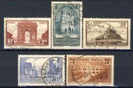 Francia 1929 - 31 Serie N. 258-262 Monumenti E Siti Usati € 64 - Gebraucht