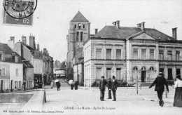 CPA - COSNE (58) - Aspect Du Quartier De La Mairie Et De L'Eglise St-Jacques En 1909 - Cosne Cours Sur Loire