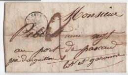 Lettre De 30 Villemur Haute-Garonne Pour Aiguillon Lot Et GaronneTaxe Manuscrite Deux Decimes - Marcophilie (Lettres)
