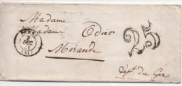 Lettre De 31 Arras (Nord) Pour Mirande Gers Taxe Au Tampon 25 Decimes Du 7 Decembre 1841 - 1849-1876: Classic Period