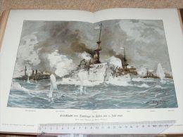 See Battle Santiago De Cuba Schiff Ship Engraving Print /from 1900 Expositions De Paris France/ - Prints & Engravings