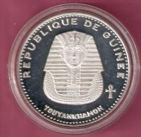 GUINEE 500 FRANCS 1970 SILVER PROOF SCARCE TUTANKHAMON KM27 - Guinée