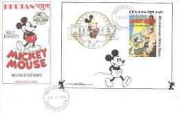 58198)  FDC DEL-BHUTAN-WALT DISNEY-BF.N.162-60° ANNIVERSARY MICKEY MOUSE -20-6-1989 - Bhutan