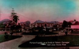COSTA RICA - Parque España, En El Fondo El Palacio Carnegie - San Jose De Costa Rica - Costa Rica