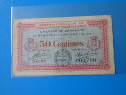 Allier 03 Moulins Et Lapalisse Chambre De Commerce  , 1ère Guerre Mondiale 50 Centimes 2-7-1920 - Chambre De Commerce