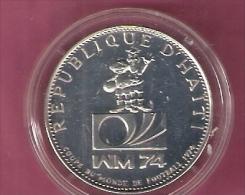 HAITI 25 GOURDES 1973 SILVER WORLD SOCCER CHAMPIONSHIP KM103 - Haïti
