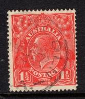 "Australia   1924   ""1.5d  Scarlet KGV -   Single WMK   ""   FU   (0) - Used Stamps"
