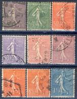 Francia 1925 - 26 Serie N. 197-205 Seminatrice (fondo A Righe) Usati Catalogo € 20,35 - Gebraucht