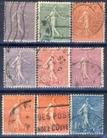 Francia 1925 - 26 Serie N. 197-205 Seminatrice (fondo A Righe) Usati Catalogo € 20,35 - Francia