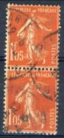 Francia 1924 - 26 Seminatrice (fondo Pieno) F. 1,05 Vermiglio  Coppia Verticale Usata Catalogo €10,50 - Gebraucht