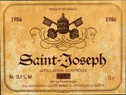 """ETIQUETTE De VIN """" SAINT-JOSEPH 1986 """"  - Appellation Contrôlée 12,5° - 75cl - Très Bon état  - - Beaujolais"""