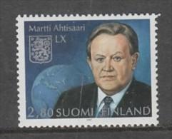 TIMBRE NEUF DE FINLANDE - 60EME ANNIVERSAIRE DU PRESIDENT MARTTI AHTISAARI N° Y&T 1357 - Beroemde Personen