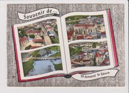 CPSM Grand Format - SOUVENIR DE ST SAINT AMAND SUR SEVRE - Multivues - L'Eglise Le Pont Sur La Sevre La Place - France