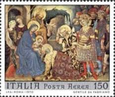 ITALIA REPUBBLICA ITALY REPUBLIC 1970 POSTA AEREA NATALE CHRISTMAS NOEL NAVIDAD NATAL LIRE 150 MNH - 1961-70: Nieuw/plakker