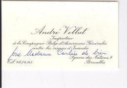 Carte De Visite A D'André Vellut Inspecteur à La Compagnie Belge D'Assurances Générales... Bruxelles, 1955 - Cartes De Visite
