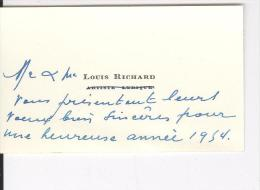 Carte De Visite A De M.Mme Louis Richard Artiste Lyrique Vers 1954 - Cartes De Visite