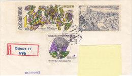 1971 - Registered Mail Ostrava Unesco, Space, Espace, Prague Panorama - FDC