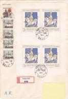 1973 - Registered Mail Praha AR Feuillet/bloc Sur Enveloppe 15,5 X 22,5 Cm - FDC