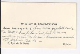 Cartes De Visite AS Comps-Tassoul Rhisnes, Vers 1955 - Cartes De Visite