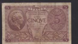 ITALIA REGNO  L. 5  ATENA ELMATA  1944  BB - [ 1] …-1946 : Kingdom