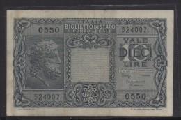 ITALIA REGNO  L. 10  GIOVE 23/11/1944  BB++ - [ 1] …-1946 : Kingdom