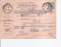 Allemagne ( Récipissé Postal De 1894  De Hannovre  Vers L'intérieur à Voir) - Allemagne