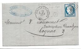 TONNAY CHARENTE Charente Maritime Convoyeur Station 1876 Ligne 8 Angoulème à La Rochelle + 25c Céres GC 1065 De.     .G - Poste Ferroviaire
