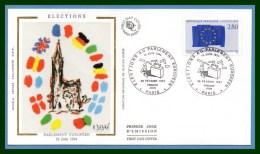 FDC Silk Soie Elections Au Parlement Européen 1994 N° 2860 - FDC