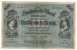 Germany 100 Mk, 1911 , Dresden , USED But RARE,  Free Ship. To USA. - [ 2] 1871-1918 : German Empire