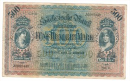 Germany 500 Mk, 1922, Dresden , USED But RARE,  Free Ship. To USA. - [ 2] 1871-1918 : German Empire